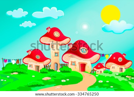 Child's drawing of mushrooms houses with a fence, chimney, window, roof and door landscape with shrubs, sun and clouds, with deep, bright colors, suitable for Wallpaper Mural or picture book. - stock vector