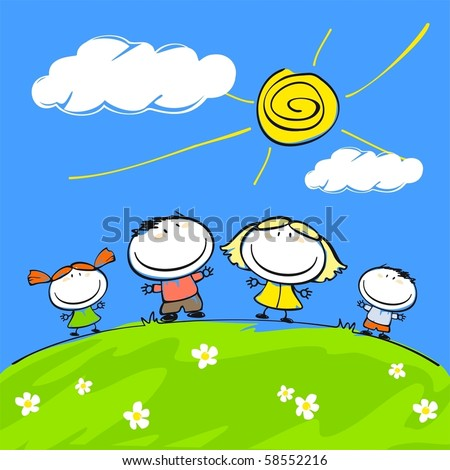 Child's drawing of the happy family - stock vector