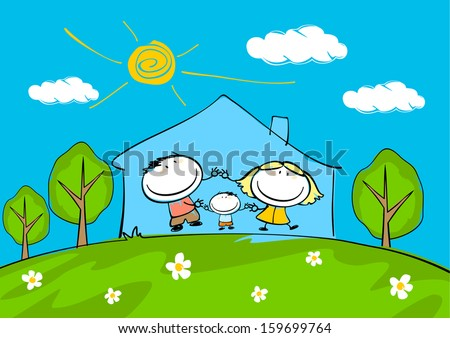 Child's drawing of the happy family at home - stock vector