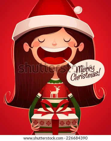 Child's greetings. Christmas card \ poster \ banner. Vector illustration. - stock vector