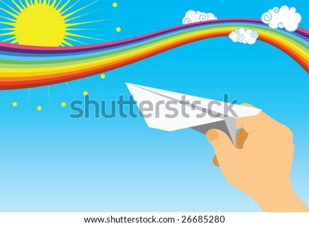 Child's hand with paper dove - stock vector