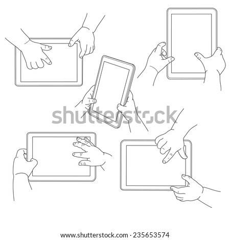 Child's hands holding a tablet, vector illustration - stock vector