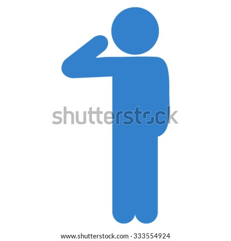Child Salute vector icon. Style is flat symbol, cobalt color, rounded angles, white background. - stock vector