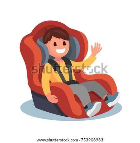 Child sits in a red car seat. Vector flat style
