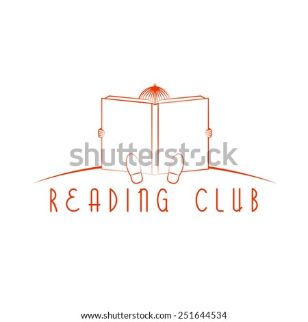 Child sitting and read book, reading club logo - stock vector