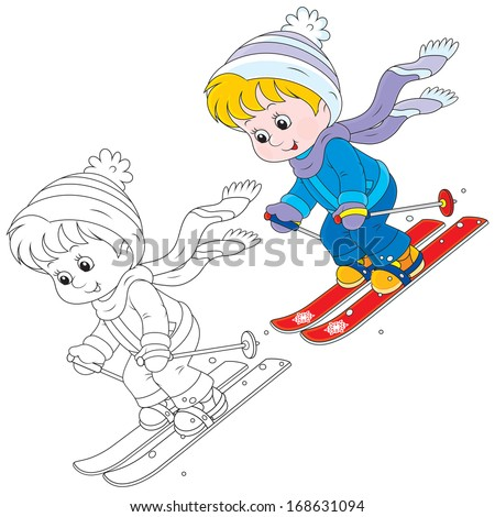 Child skiing down - stock vector