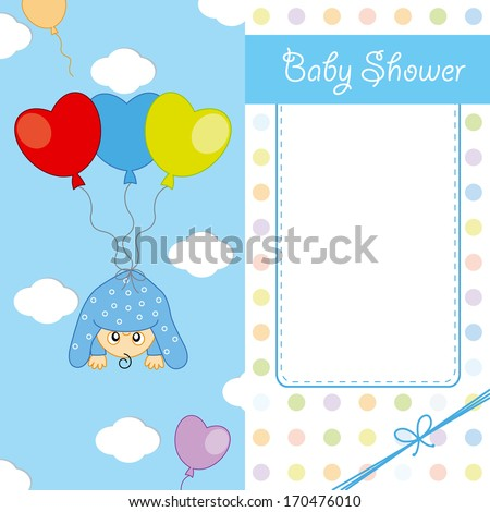 Child sleeping on top of a balloon. baby birth card
