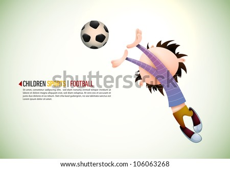Child Soccer Player Goalkeeper Faults Toward the Football | EPS10 Vector Background | Layers Organized and Named Accordingly