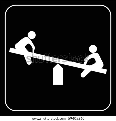 child teeter, vector - stock vector