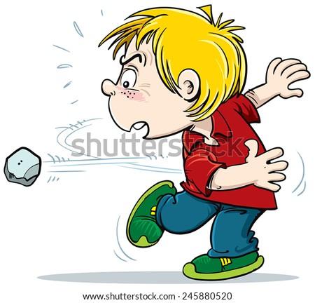 Kid Thrwoing A Rock Clipart