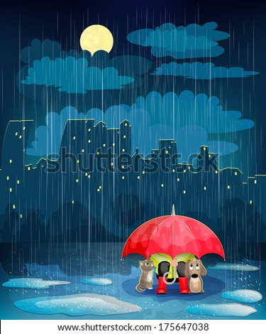 Child under an umbrella in night city. Landscape with night city,  rain and  moon