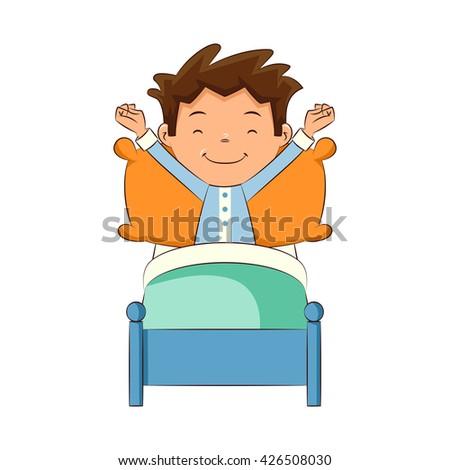 child making bed vector illustration stock vector