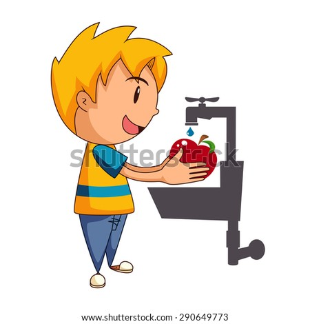 Child Washing Apple Vector Illustration Stock Vector