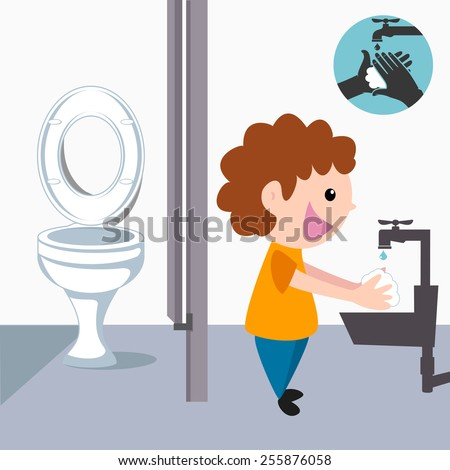 Child washing hands, after bathroom - stock vector