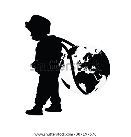 child wears planet earth black illustration silhouette - stock vector
