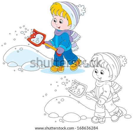 Child with a snow shovel - stock vector
