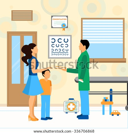 Child with mom and pediatrician doctor in hospital flat vector illustration - stock vector