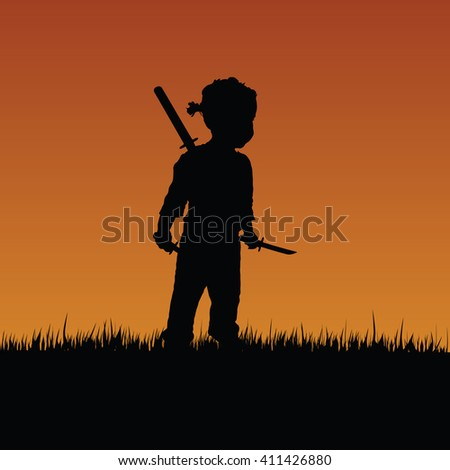 child with swords in nature color illustration
