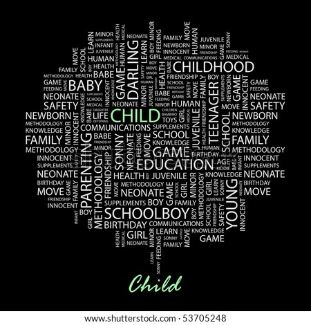 CHILD. Word collage on black background. Vector illustration. - stock vector