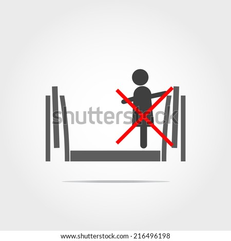 childern don't used escalator only icon - stock vector