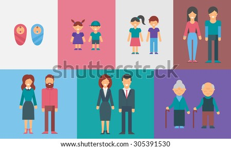 Childhood, adolescence, adulthood, old age. Generations. People of different ages vector illustration for infographic - stock vector