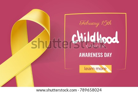 Childhood cancer awareness banner with yellow ribbon symbol on pink background. Vector illustration