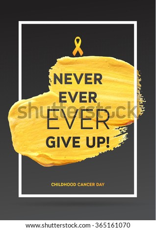 Childhood Cancer Awareness Poster. Yellow Gold Brush Strokes and Frame Illustrate the Problem. Childhood Cancer Awareness Symbol Grey Background.