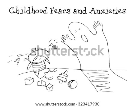 Childhood fears and anxieties. Kids Health. Graphics sketch in vector. - stock vector