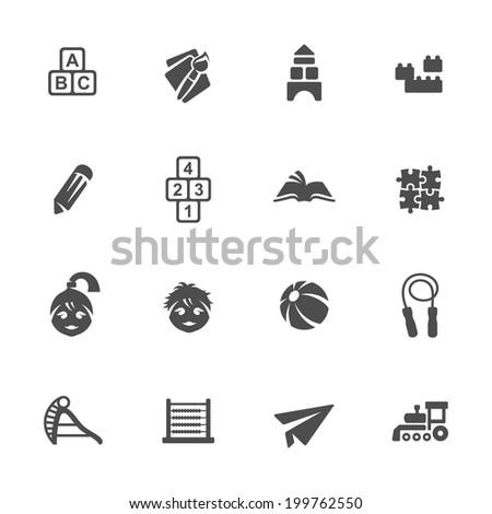 Childhood icon set - stock vector
