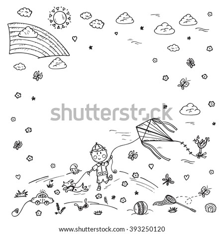 Childhood. Summer vacation. Hand drawn doodle little boy playing on meadow. Background for kids. Children frame. Birthday Card Template - stock vector