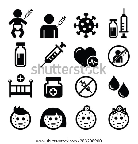 Childhood vaccinations, chicken pox icon set  - stock vector
