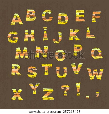 childish alphabet, colorful letter cutout on brown textured background,  vector illustration - stock vector