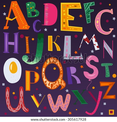 Childish alphabet illustration. Colorful cartoon letters. - stock vector