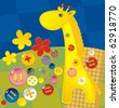 childish applique - giraffe - stock vector