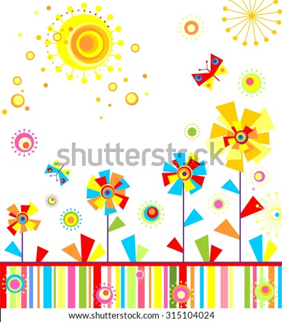 Childish applique with abstract colorful flowers - stock vector