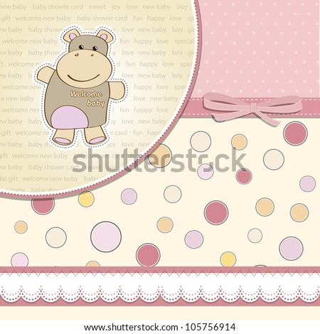 childish baby girl announcement card with hippo toy - stock vector