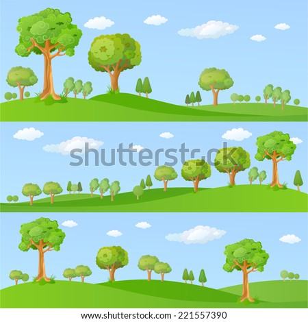 Childish background with little trees - stock vector