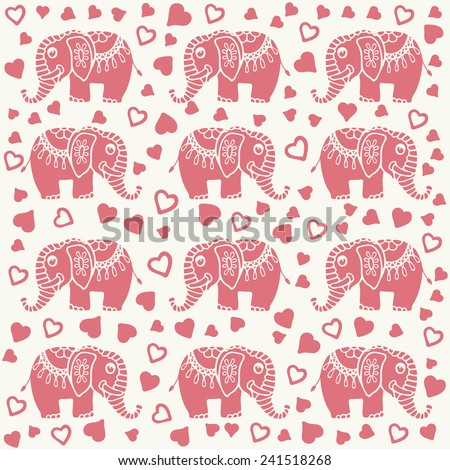 Childish cartoon pattern with doodle elephant and heart. Valentines background for card design, vector illustration. - stock vector