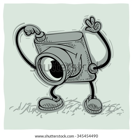 Childish cartoon photo camera is trying to take a photo - stock vector