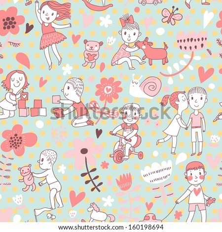 Childish cartoon seamless pattern with boys, girls, love, kiss, horse, dog, snail, bear and flowers. Seamless pattern can be used for wallpapers, pattern fills, web page backgrounds, surface textures. - stock vector
