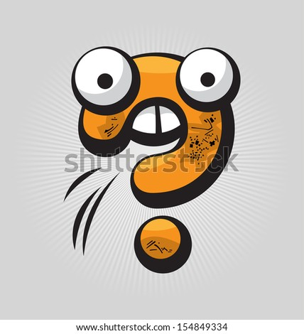 Childish confused question mark with big eyes and funny face expressions - stock vector