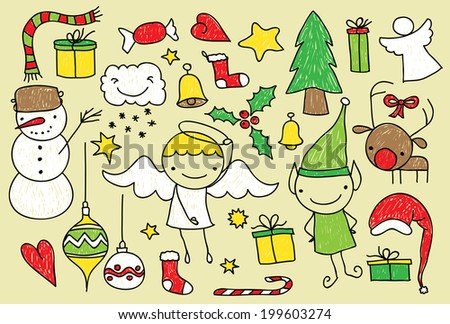 Childish doodle of Christmas related elements - stock vector