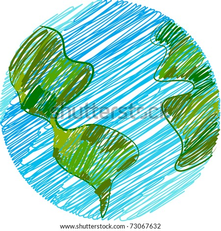 Childish Earth doodle - stock vector