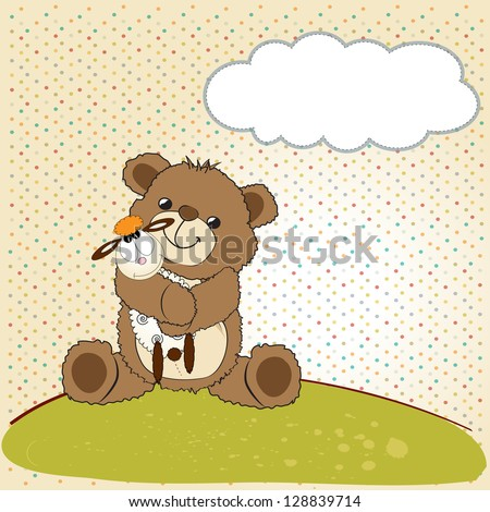 childish greeting card with teddy bear and his toy, vector illustration