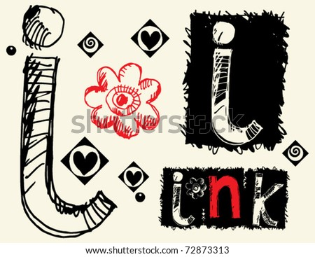 childish hand drawn alphabet, crazy doodle i - stock vector