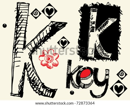 childish hand drawn alphabet, crazy doodle K - stock vector