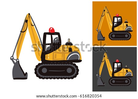 Childish hand drawn construction machinery illustration: crawler excavator. Isolated vector art element on white, dust orange and dark background in childlike sketch style.