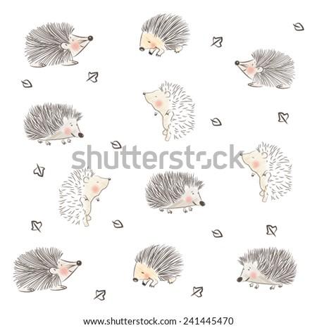 CHILDISH HEDGEHOG CUTE PATTERN DESIGN. For fabrics, textile, wall prints, cards, etc. Editable vector illustration file, - stock vector