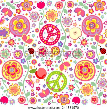 Childish hippie wallpaper - stock vector