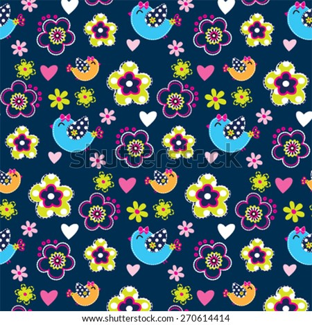 childish pattern with bird and flower vector illustration - stock vector